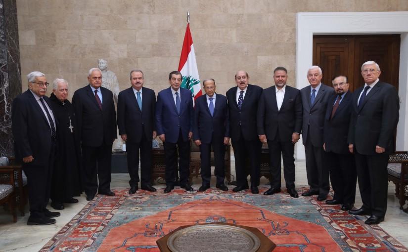 President Michel Aoun Meets  Deputy House Speaker Elie Ferzlie with a Delegation