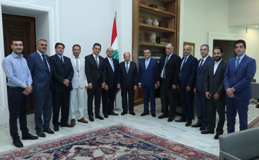 President Michel Aoun Meets a Delegation of Syndicate of Marble, Granite & Cement Products Industrialists