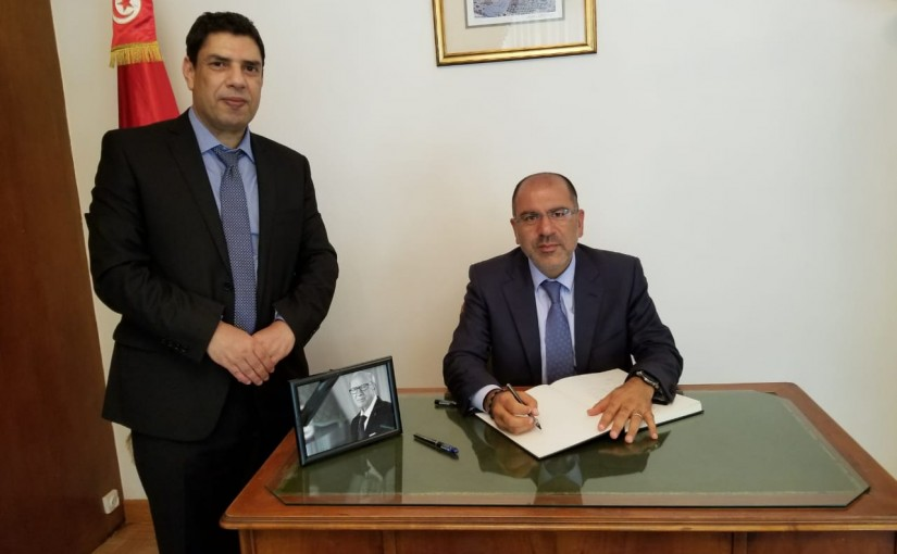 Director General of The Lebanese Presidency Dr Antoine Chkeir Presents His Condolences at The Tunisian Embassy