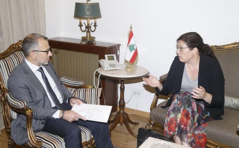 Minister Gebran Bassil meets Mrs Celine Moirode