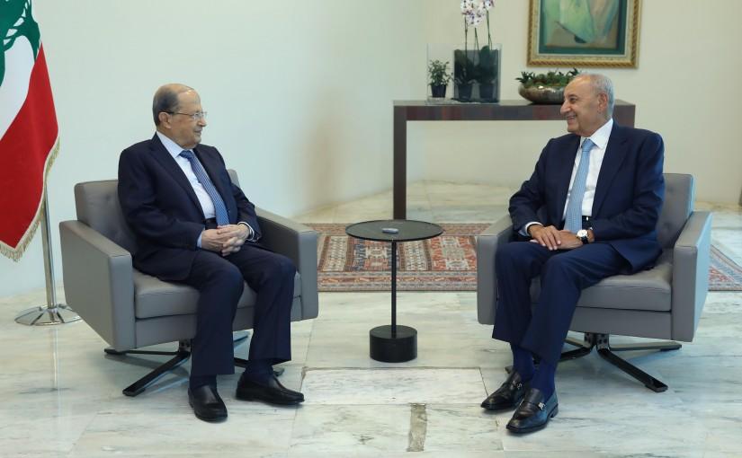 President Michel Aoun Meets House Speaker Nabih Berri