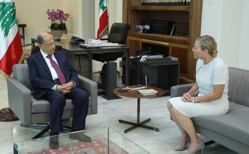 President Michel Aoun Meets Norway Ambassador Lene Lind