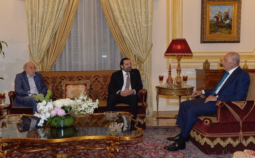 House Speaker Nabih Berri meets Pr Minister Saad Hariri & Former Minister Walid Jounblat