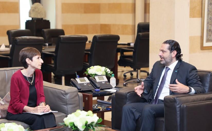 Pr Minister Saad Hariri meets Mrs Mireille Gerard