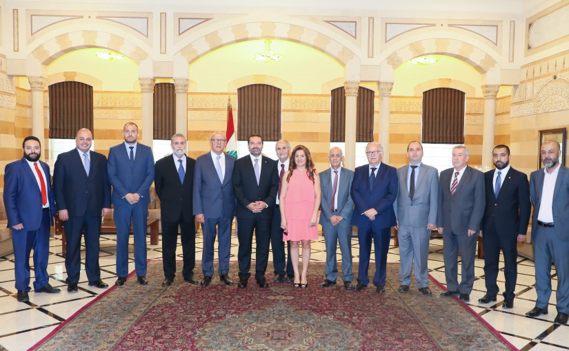 Pr Minister Saad Hariri meets a Delegation from Zahle Municipality