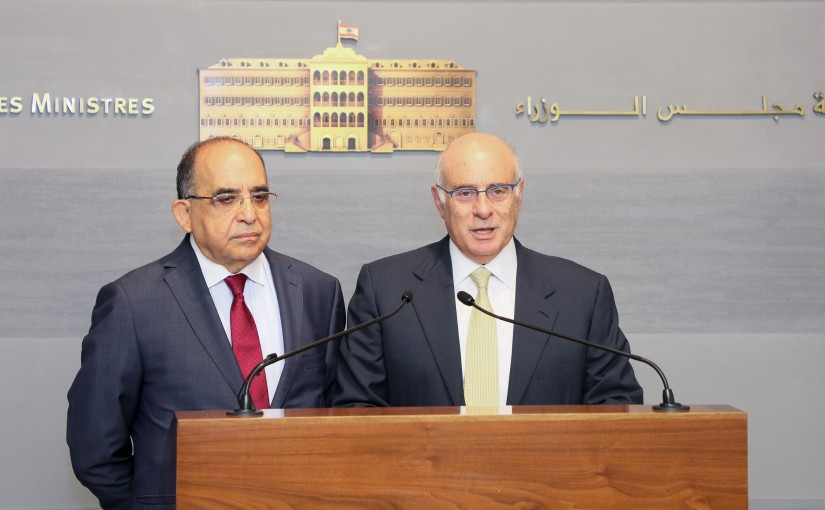 Press Conference for Minister Kamil abou Sleiman & Mr Hassan Mneinmeh