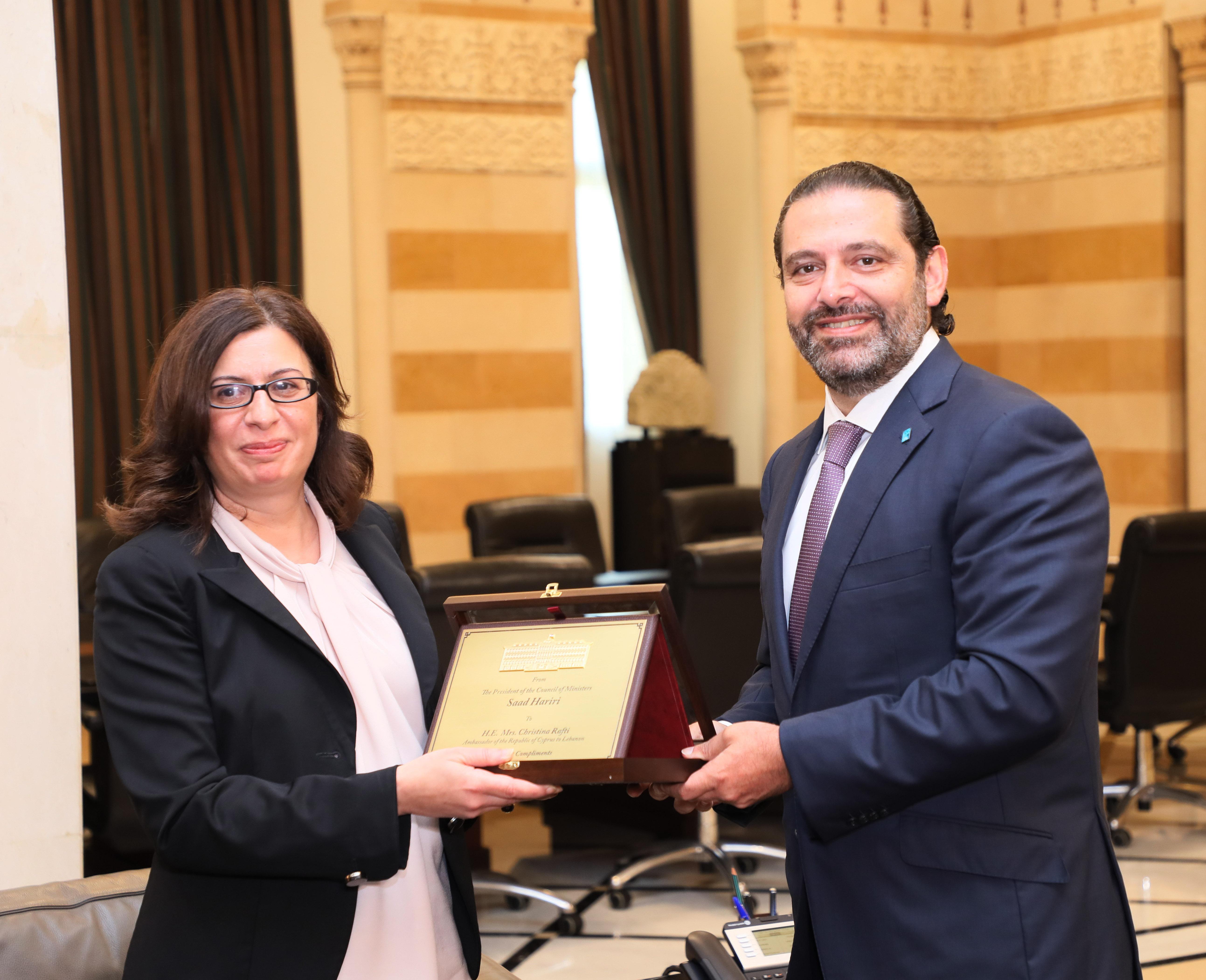 Pr Minister Saad Hariri Heading meets Cyprus Ambassador