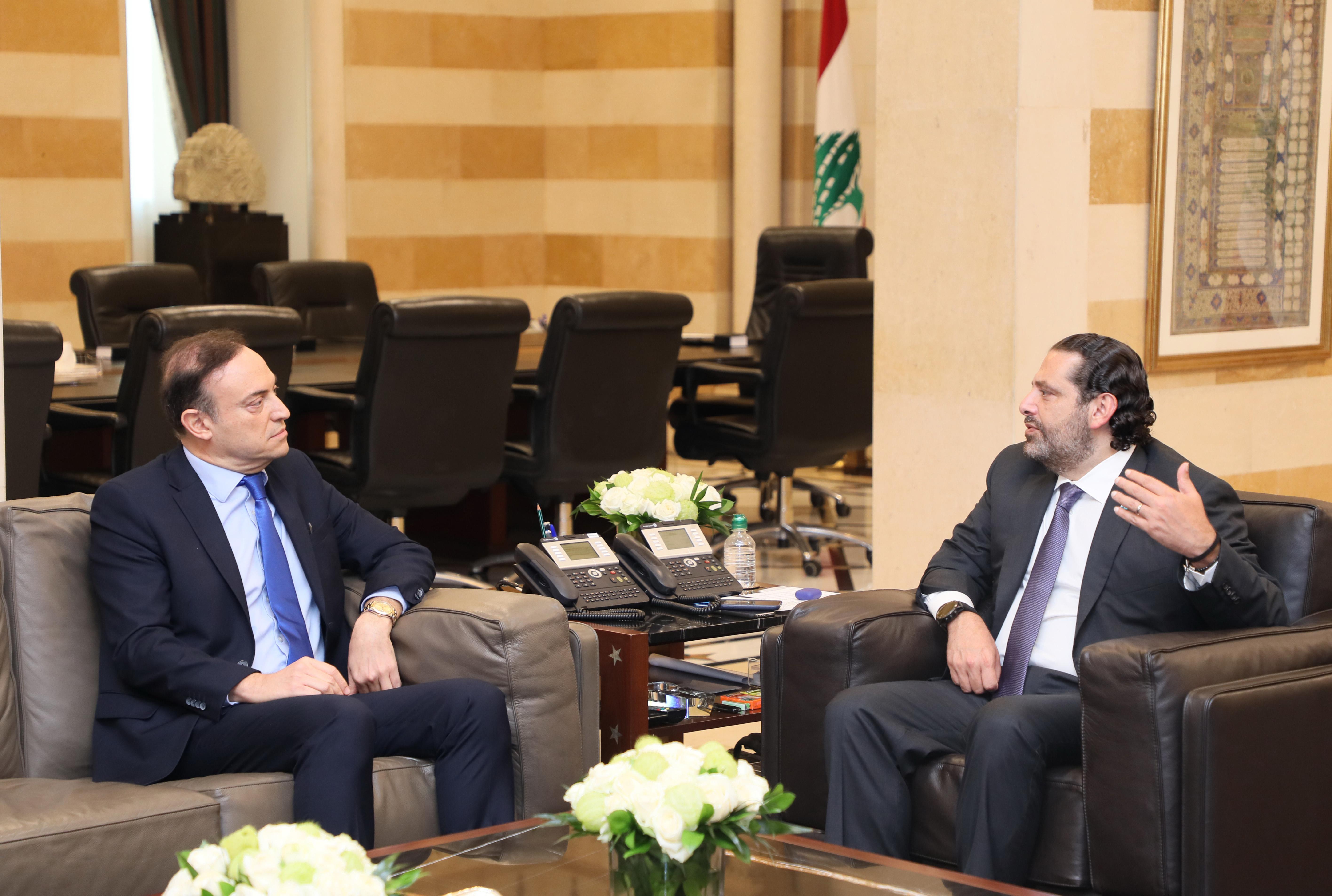 Pr Minister Saad Hariri meets Ambassador Fawzi Kabara