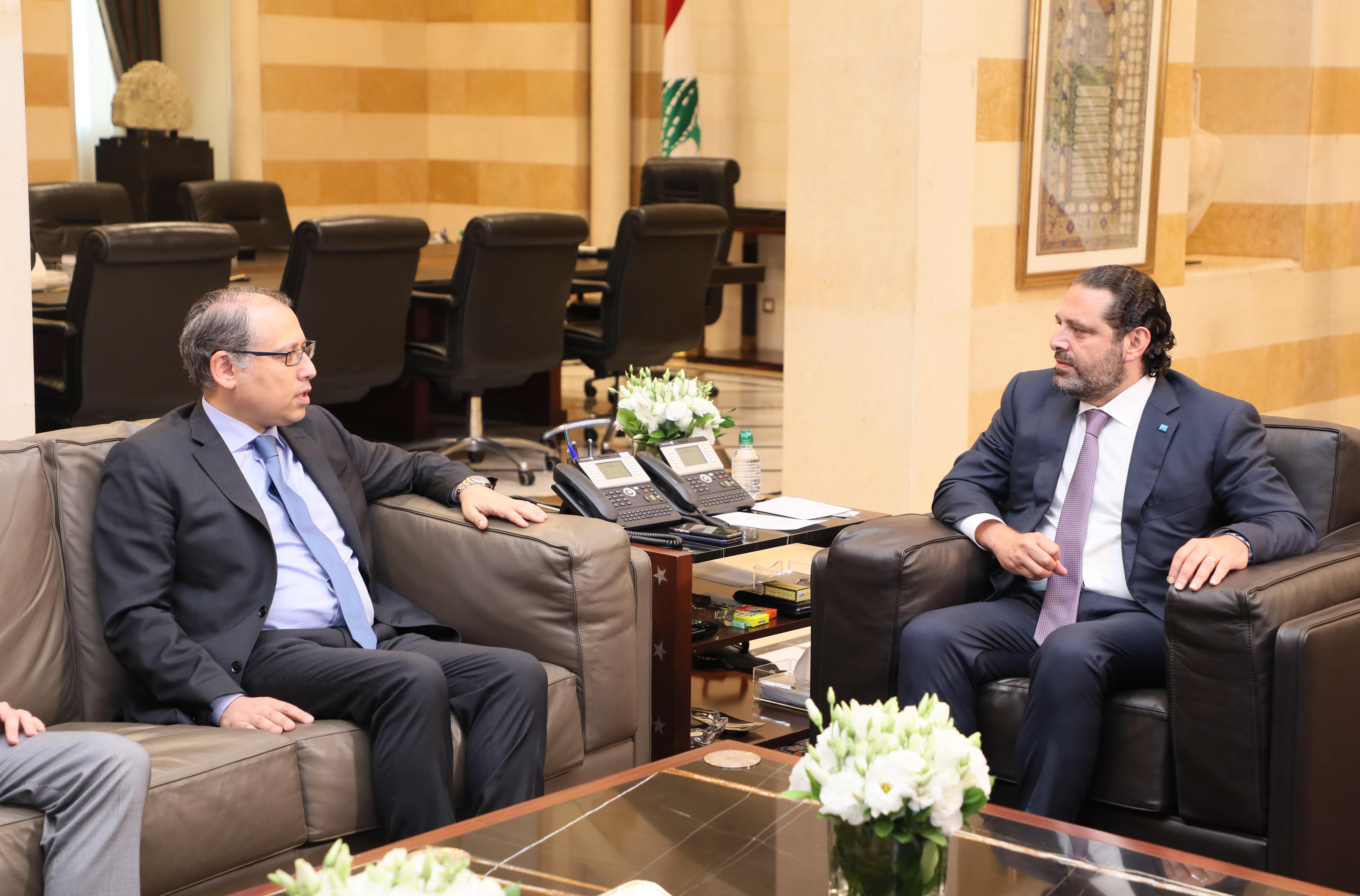 Pr Minister Saad Hariri meets Egeptian Ambassador