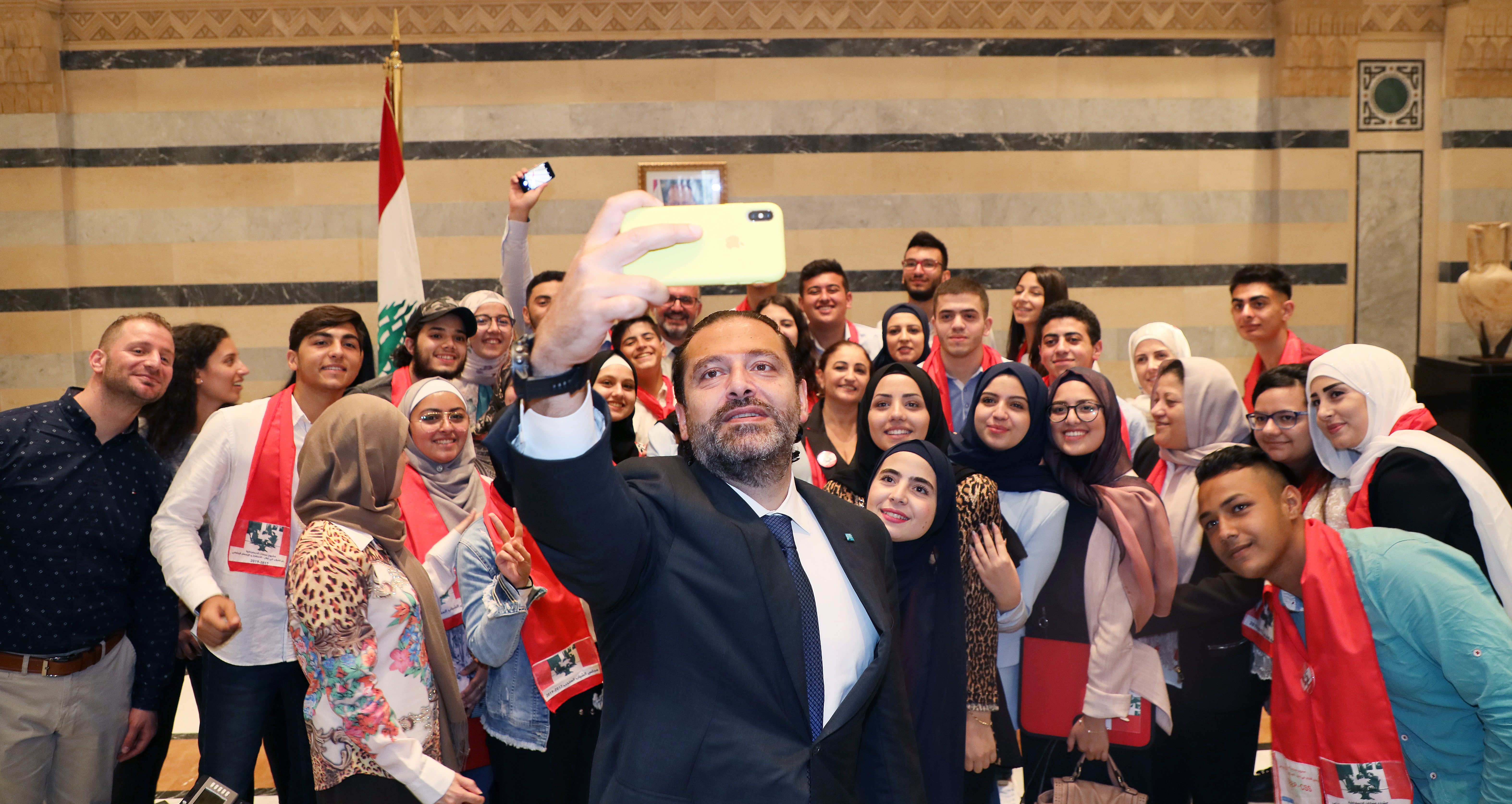 Pr Minister Saad Hariri meets a Delegation from Lebanese Students