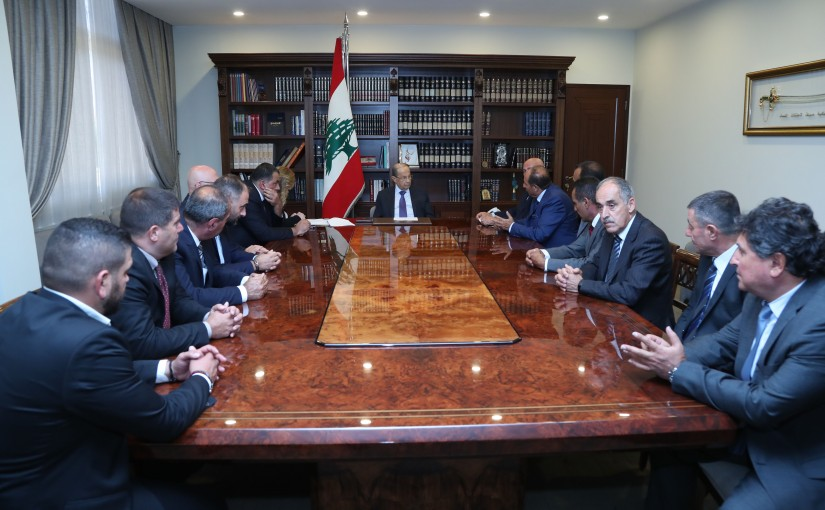 President Michel Aoun Meets a Delegation From Public Trucks Transportation Syndicate