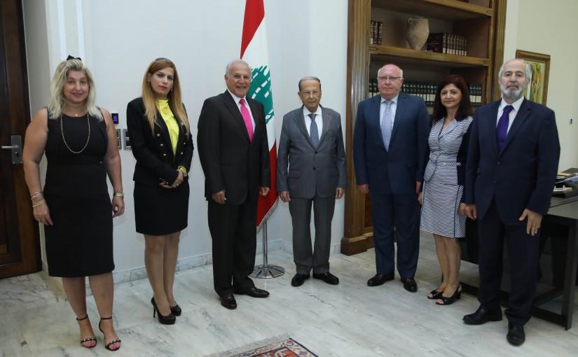 President Michel Aoun Meets Mr Adonis Al-Akra with a Delegation