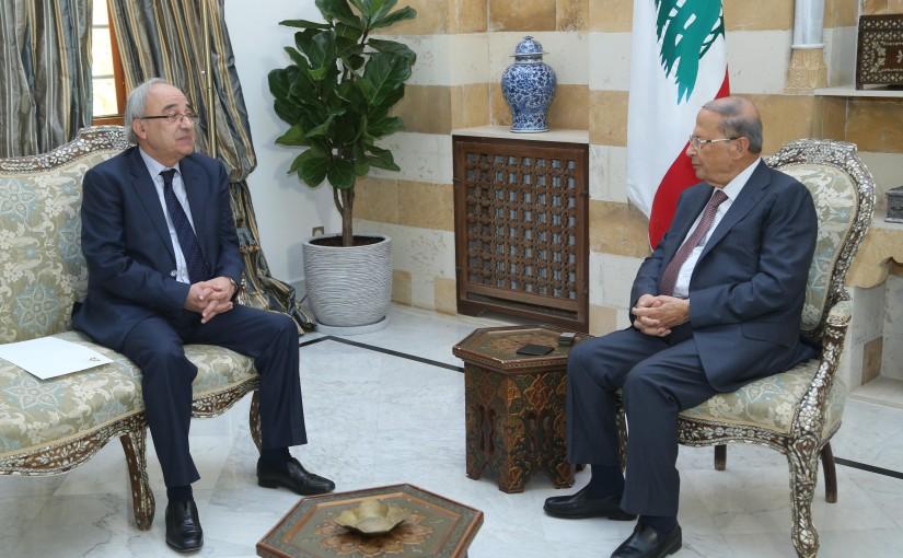 President Michel Aoun Meets Minister of Justice Albert Serhan