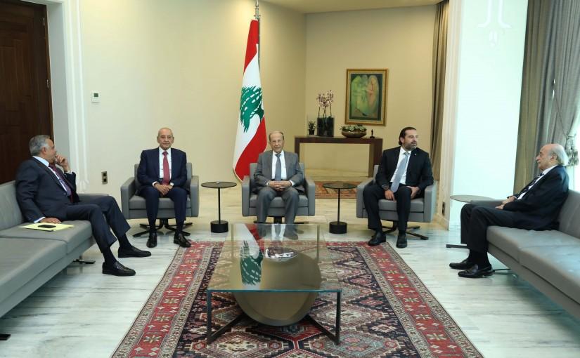 President Michel Aoun Meets House Speaker Nabih Berri & Pr Minister Saad Hariri MPs Walid Jumblat & Talal Erslan