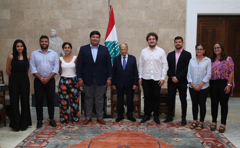 President Michel Aoun Meets Head of The Lebanese-Argentina Cultural Association Gabriel Enrique Plaza Corder