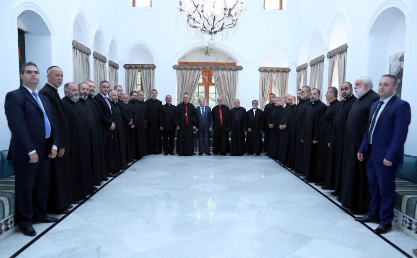 President Michel Aoun Meets a Delegation From The Maronite Archbishopric Of Saida And Deir El Amar