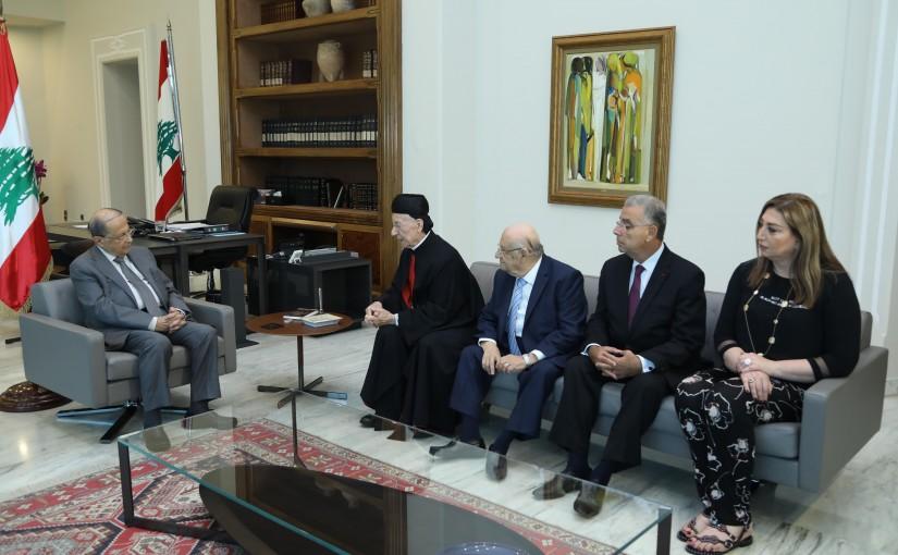 President Michel Aoun Meets Bishop Samir Mazloum with a Delegation
