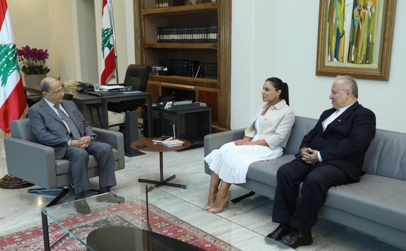 President Michel Aoun Meets Reverend Father Salim Daccache ( USJ University ) & Dr Asma Saliba ( Lebanese Health Energy )