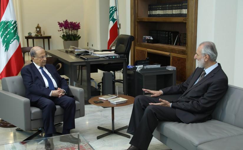President Michel Aoun Meets Former Minister Ibrahim Shamesseddine