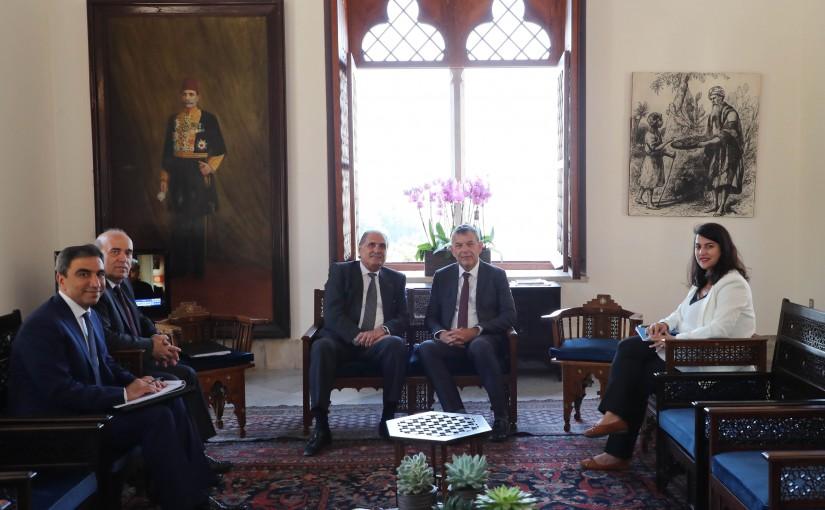 Minister Selim Jreysati Meets Mr Philippe Lazzarini the UN Secretary-General as the Deputy UN Special Coordinator for Lebanon