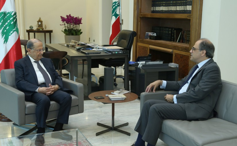 President Michel Aoun Meets Former Minister Jihad Azour