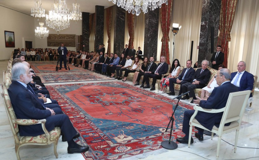 President Michel Aoun Meets Head of The Maronite Diaspora Foundation Charles Georges El Hajj with a Delegation
