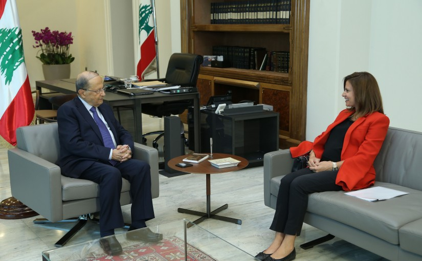 President Michel Aoun Meets Minister of Energy Nada Bustani