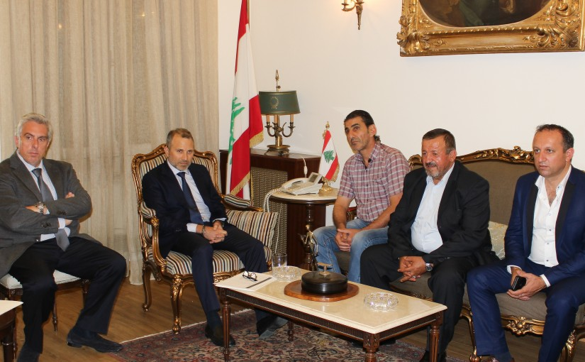Minister Gebran Bassil meets Mr Ali Houssein Yassin with a Delegation