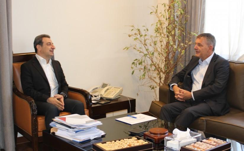 Minister Wael Abou Faour meets Mr Philippe Larizini