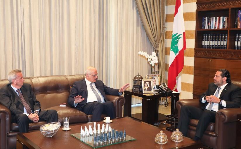 Pr Minister Saad Hariri meets Minister Ali Hassan Khalil & Mr Riad Salameh