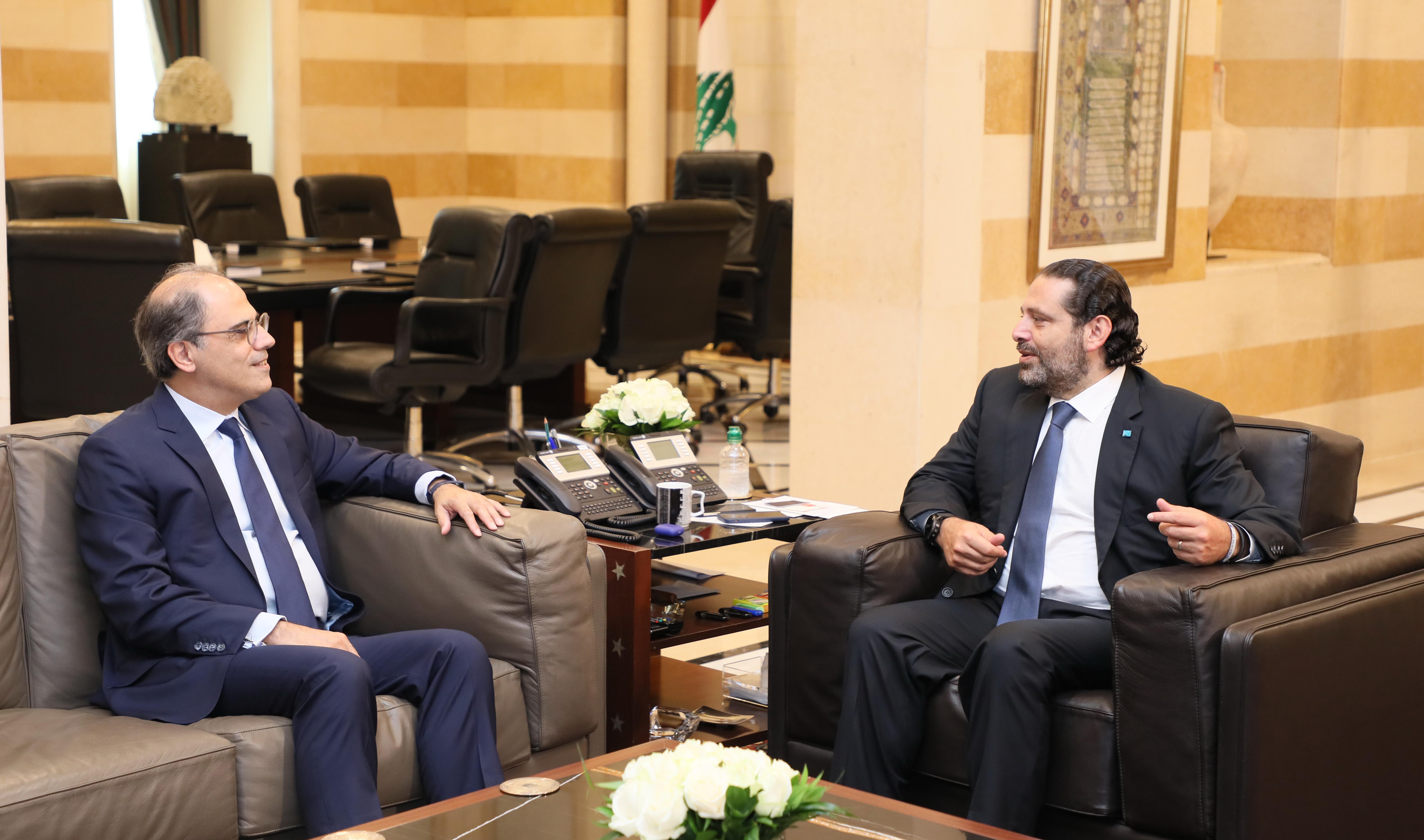 Pr Minister Saad Hariri meets Mr Jihad Azour 1