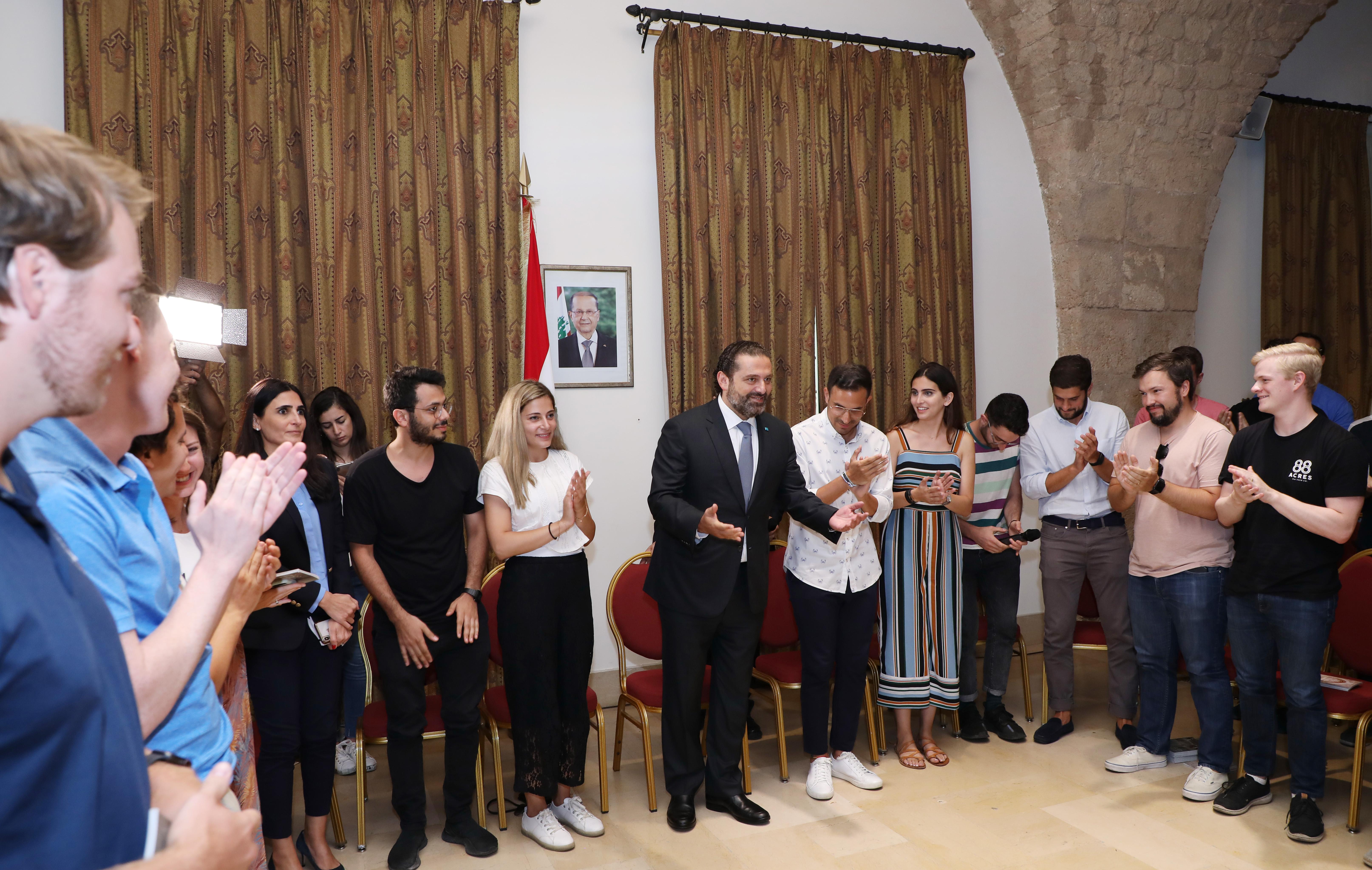 Pr Minister Saad Hariri meets a Delegation from Harvard Students 3