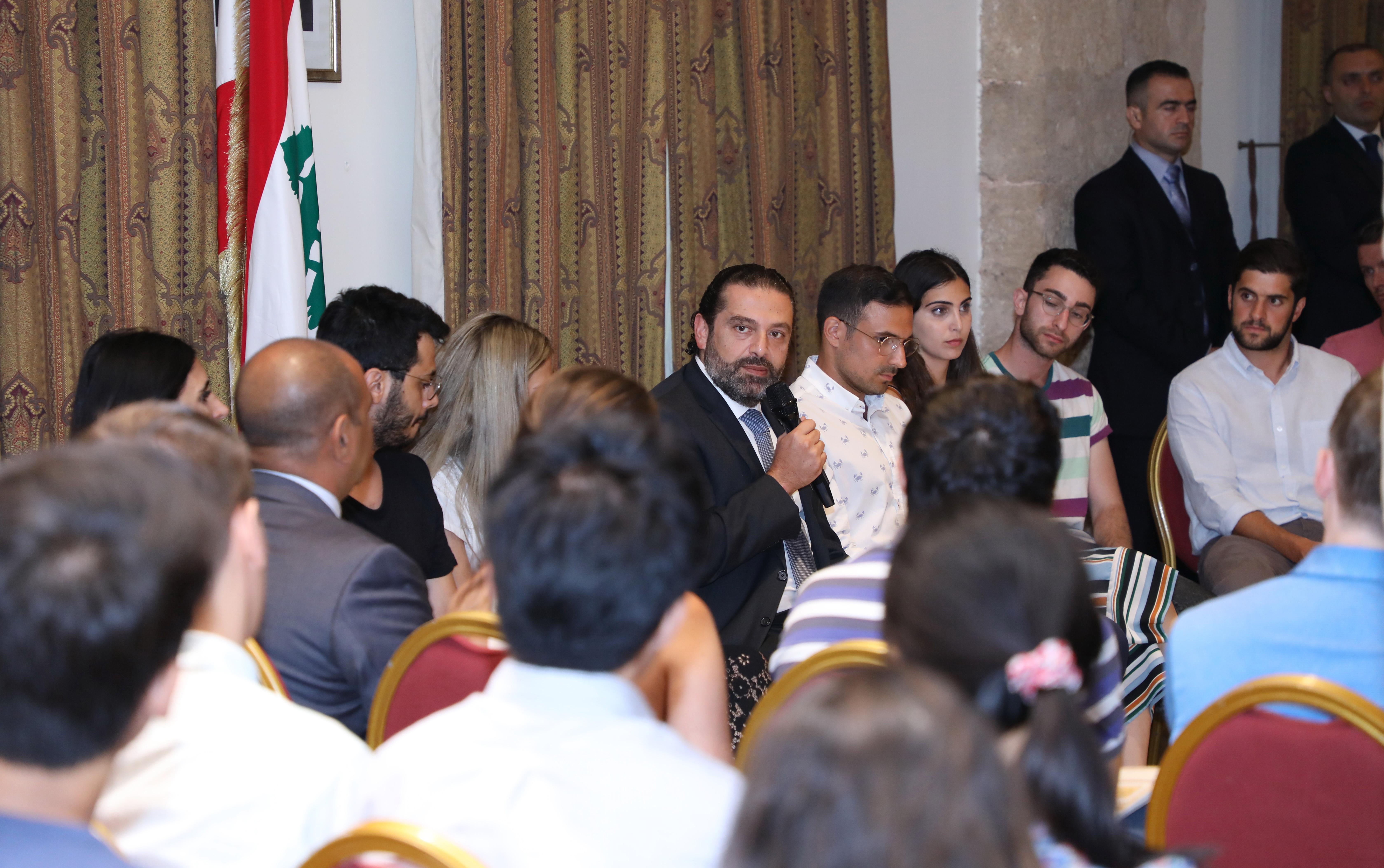 Pr Minister Saad Hariri meets a Delegation from Harvard Students