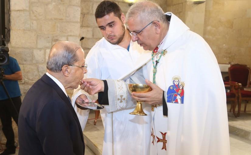 President Michel Aoun Attends a Service Mass at Saydet El Talle Church Deir El Amar