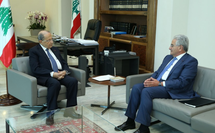 President Michel Aoun Meets Head of Banks Association Dr Selim Sfeir