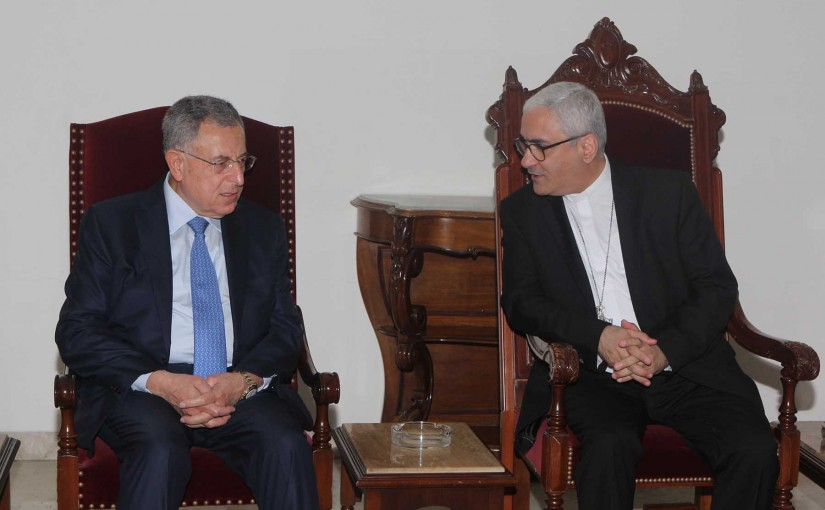 Former Pr Minister Fouad Siniora meets Bishop Boulos Abdel Sater