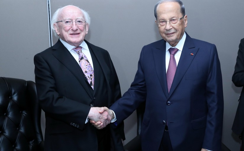 President Michel Aoun Meets Ireland President Michael Higgins