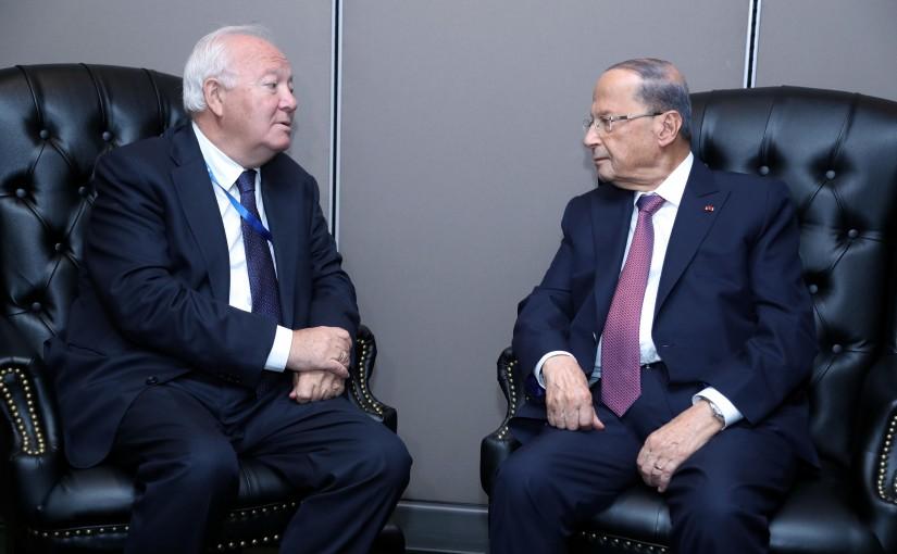 President Michel Aoun Meets Spanish Diplomat Miguel Angel Moratinos