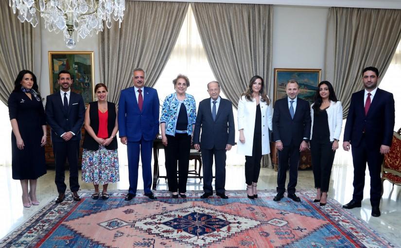 President Michel Aoun Meets MP Talal Erslan Minister Gebran Basil Minister Saleh Gharib