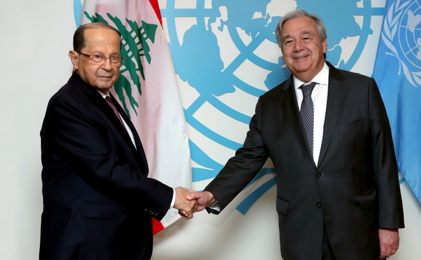 President Michel Aoun Meets Secretary General of the United Nations Antonio Guteres