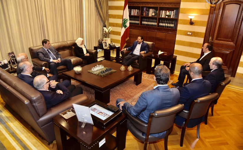 Pr Minister Saad Hariri meets MP Bahiya Hariri with a Delegation