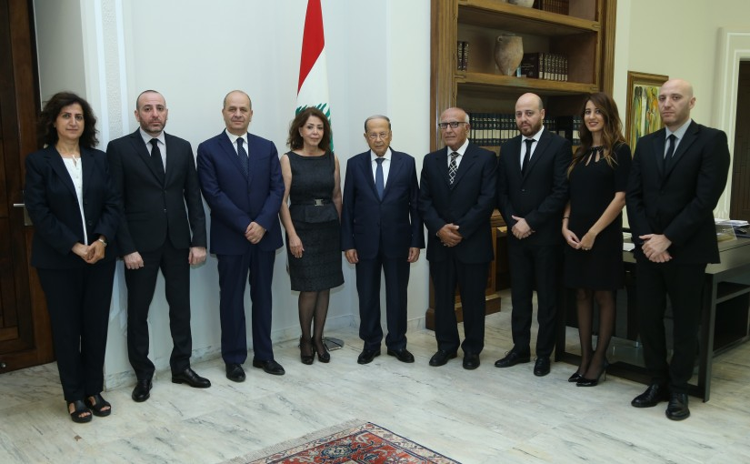President Michel Aoun Meets The Family of The Late Simon Asmar & Sheikh Pierre Daher