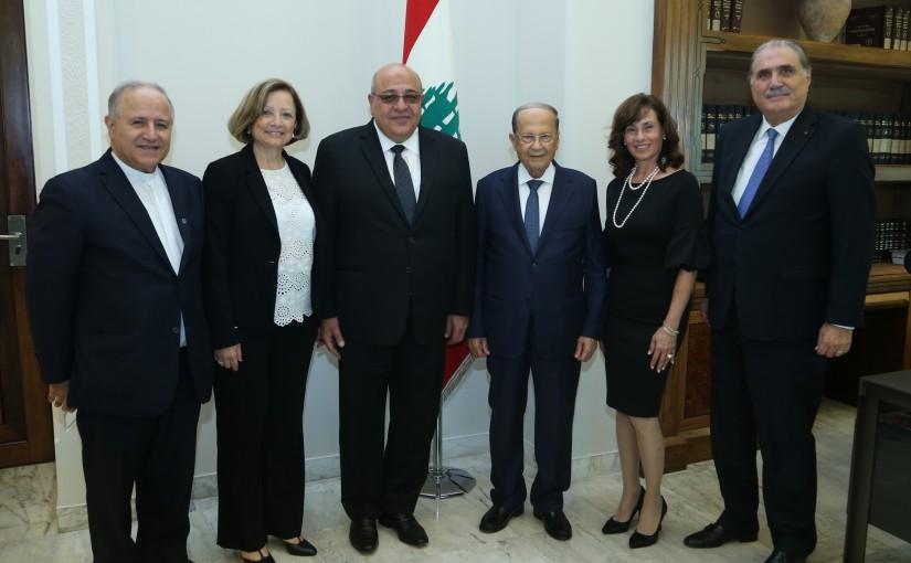 President Michel Aoun Meets Father Salim Daccache,Mrs Carmel Wakim,Mr Sejaan Ghafari,Mrs Nada Ghafari, Minister Selim Jreysati