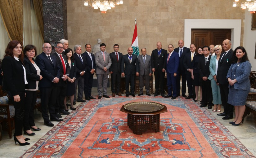 President Michel Aoun Meets President of The International Real Estate Federation Walid Moussa with a Delegation