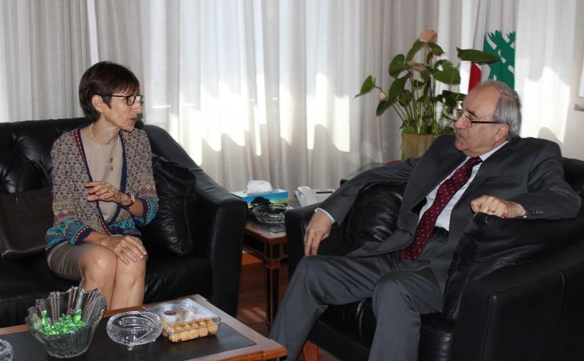 Minister Albert Serhan meets Mrs Mireille Gerard