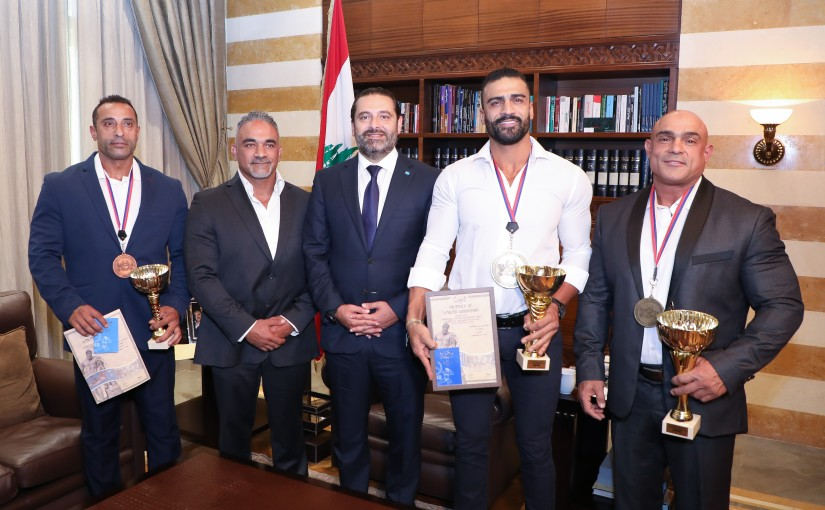 Pr Minister Saad Hariri meets a Delegation from World Champion of Bodybuilding