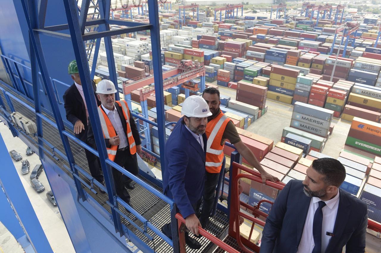Pr Minister Saad Hariri Visits Beirut Ports 16