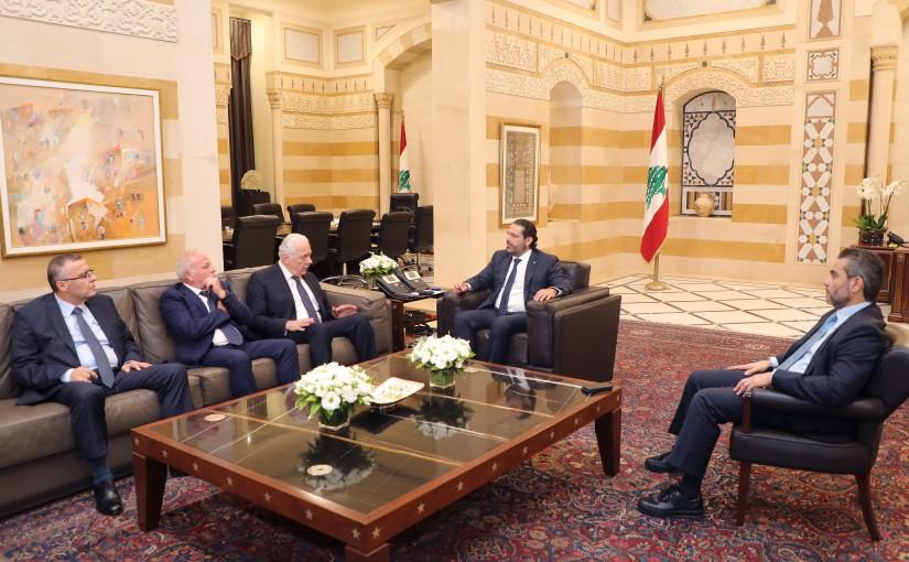 Pr Minister Saad Hariri meets Judge Souheil Aboud with a Delegation