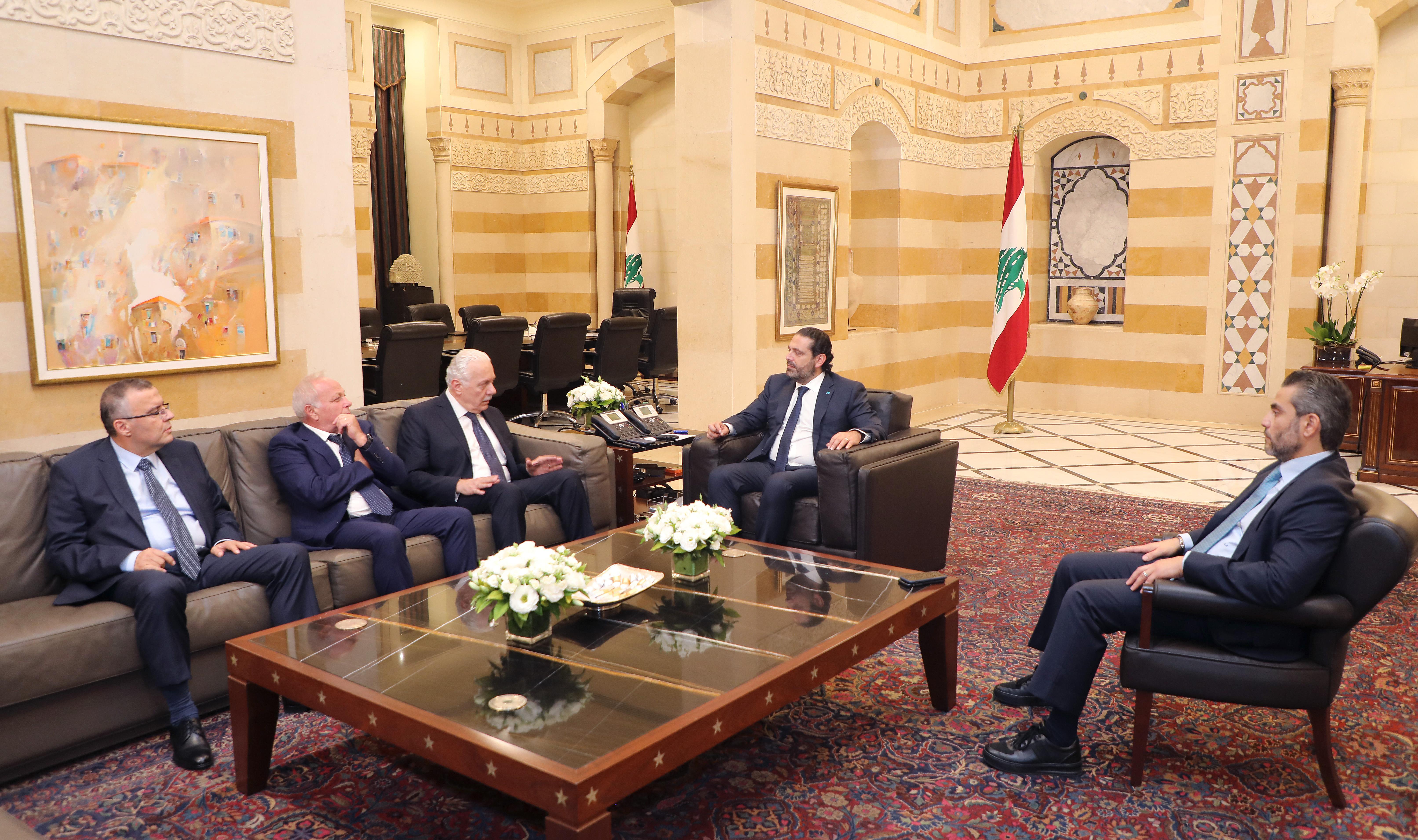 Pr Minister Saad Hariri meets Judge Souheil Abou with a Delegation