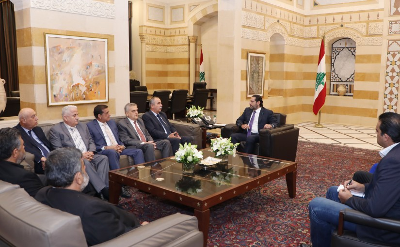 Pr Minister Saad Hariri meets a Delegation from Labor Union